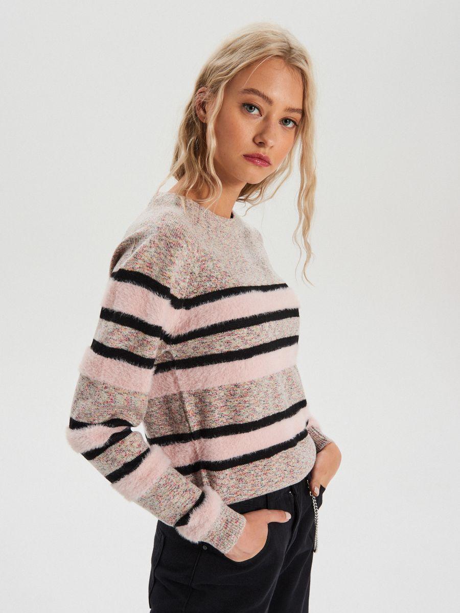 Melanžový pásikavý sveter - Ružová - WC879-03X - Cropp - 1