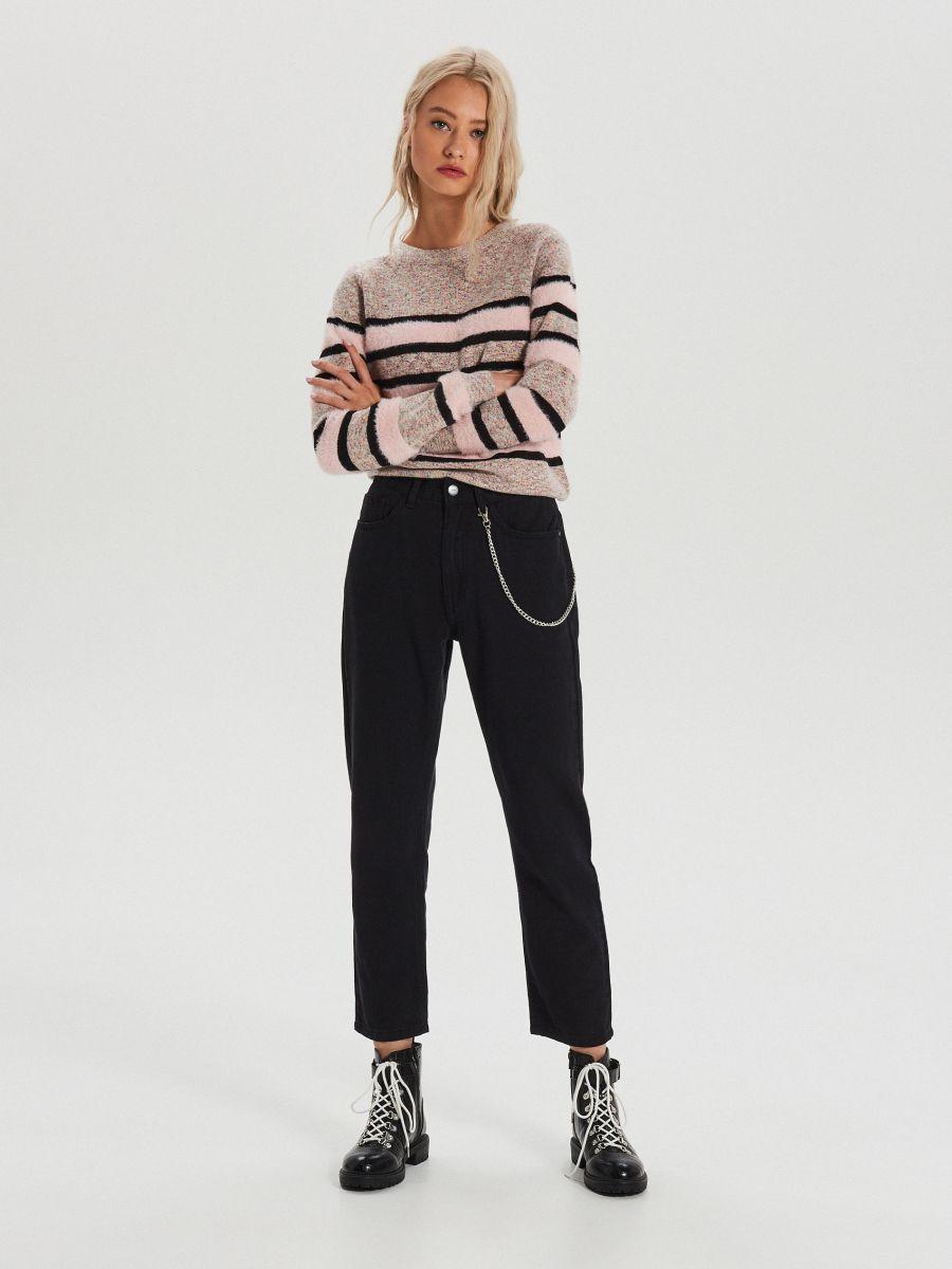 Melanžový pásikavý sveter - Ružová - WC879-03X - Cropp - 2