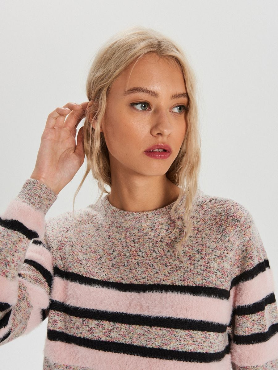 Melanžový pásikavý sveter - Ružová - WC879-03X - Cropp - 3