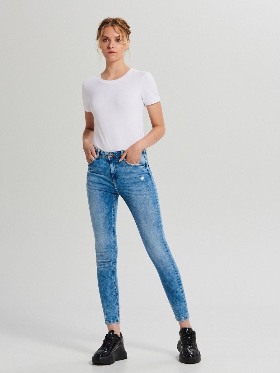 Džínsy skinny so stredne vysokým pásom - Modrá - WC912-05M - Cropp - 1