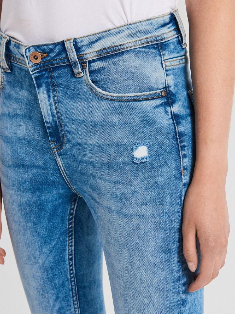 Džínsy skinny so stredne vysokým pásom - Modrá - WC912-05M - Cropp - 3