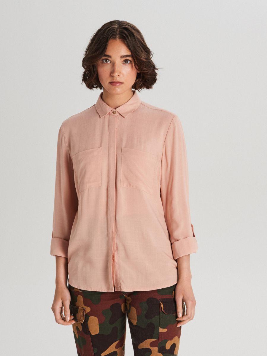 Košeľa z viskózy - Ružová - WF700-03X - Cropp - 1