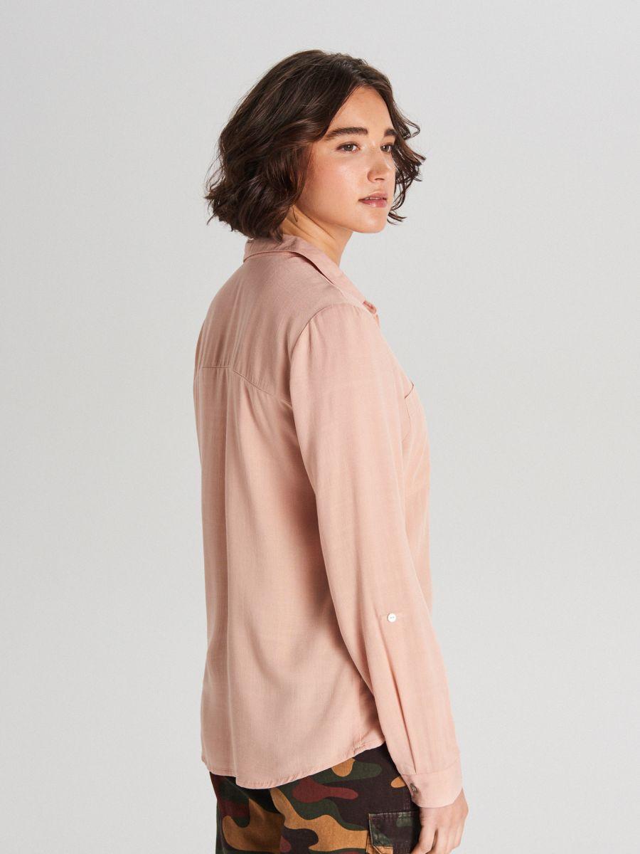 Košeľa z viskózy - Ružová - WF700-03X - Cropp - 3