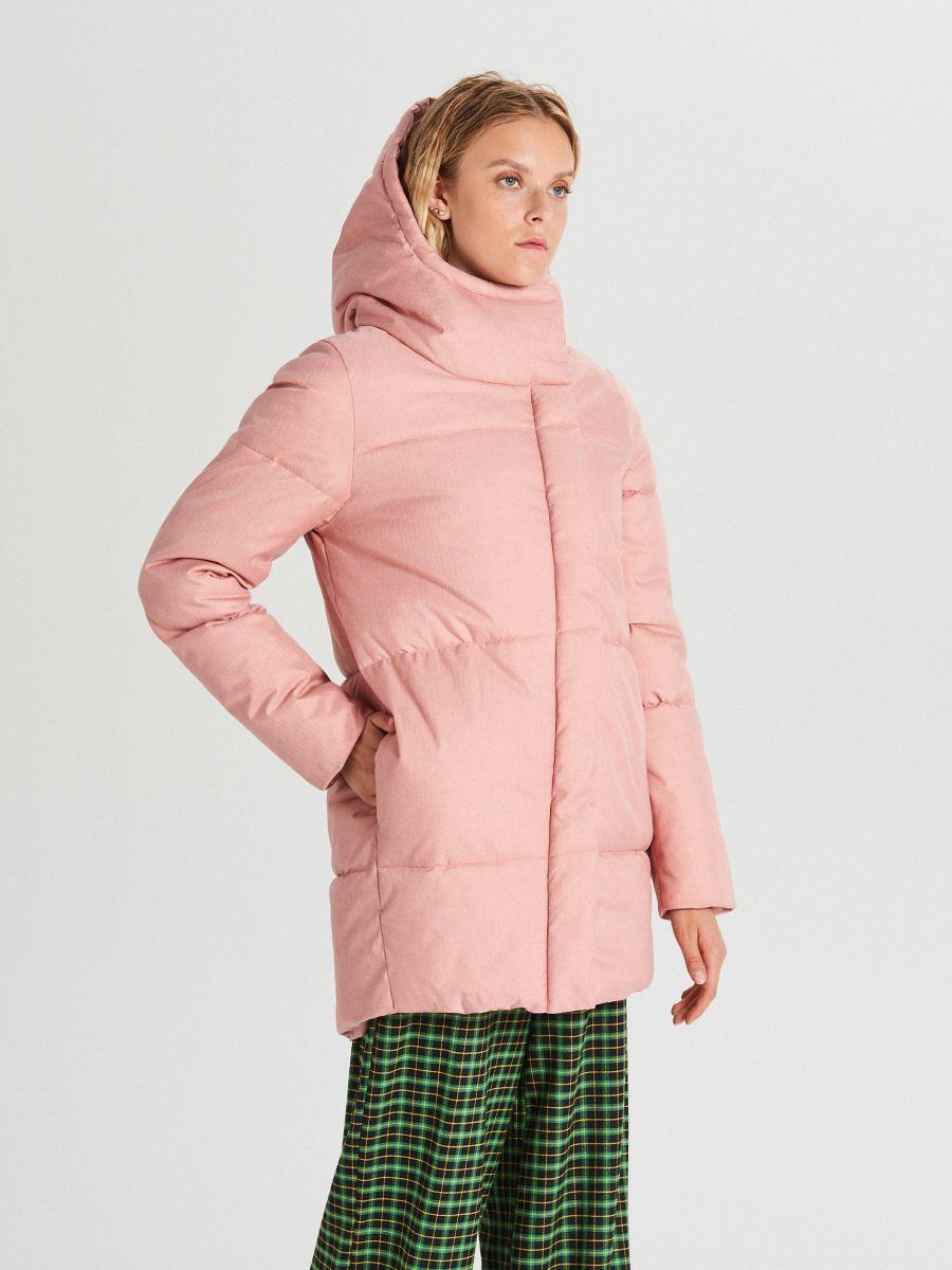 Prešívaná bunda s kapucňou - Ružová - WG285-03X - Cropp - 1