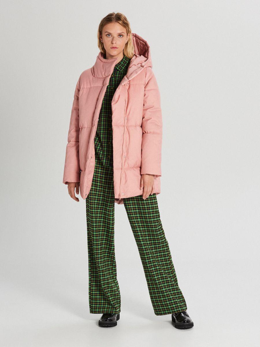 Prešívaná bunda s kapucňou - Ružová - WG285-03X - Cropp - 2