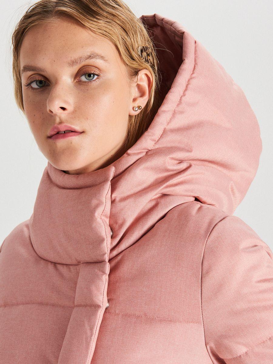 Prešívaná bunda s kapucňou - Ružová - WG285-03X - Cropp - 3