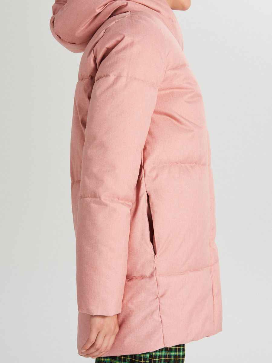 Prešívaná bunda s kapucňou - Ružová - WG285-03X - Cropp - 5