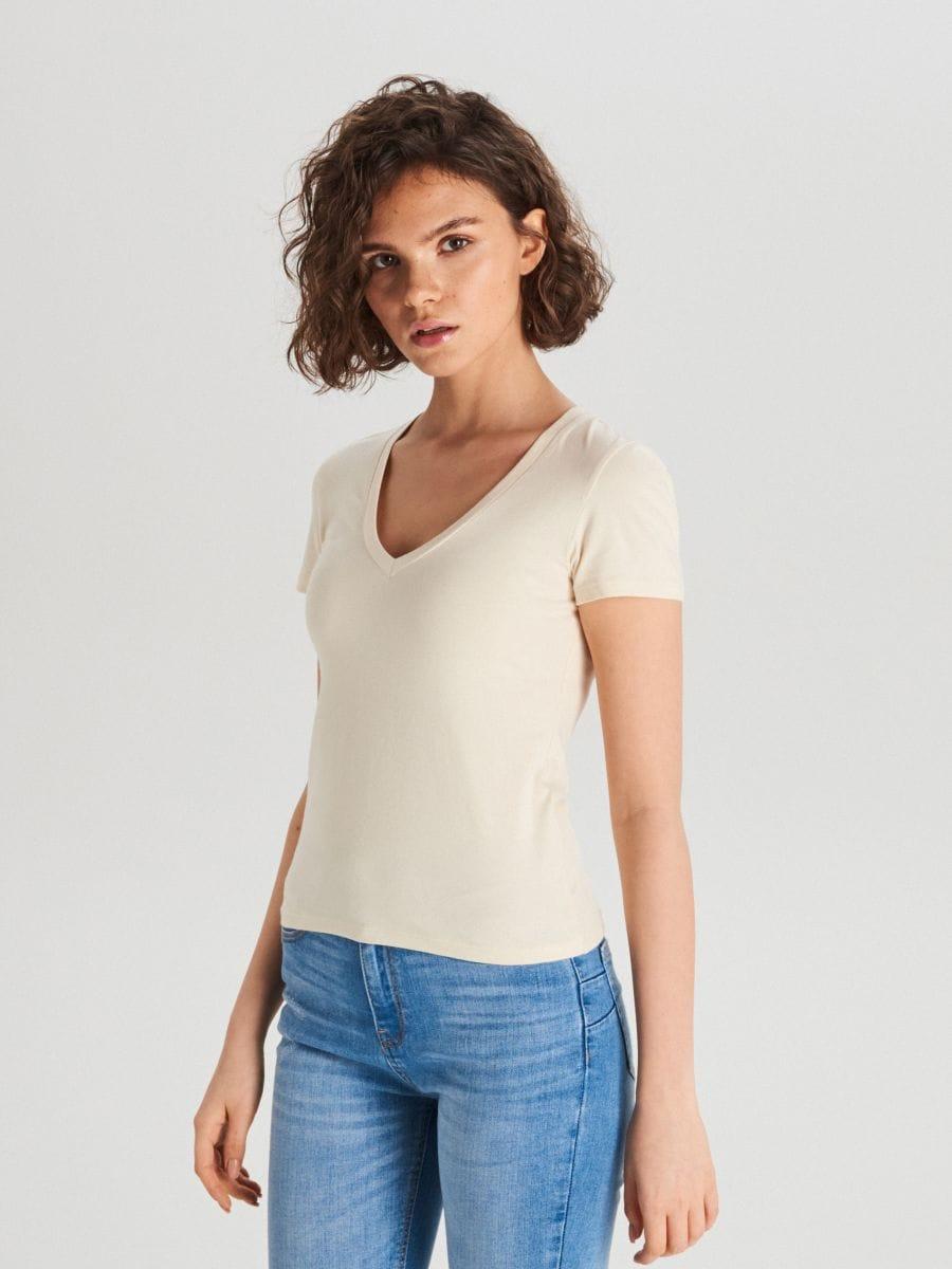 Hladké tričko - Krémová - WH168-02X - Cropp - 1