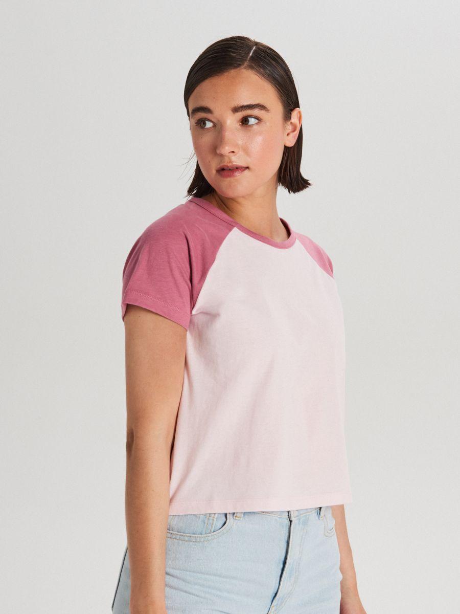 Tričko s raglánovými rukávmi - Ružová - WH175-03X - Cropp - 1