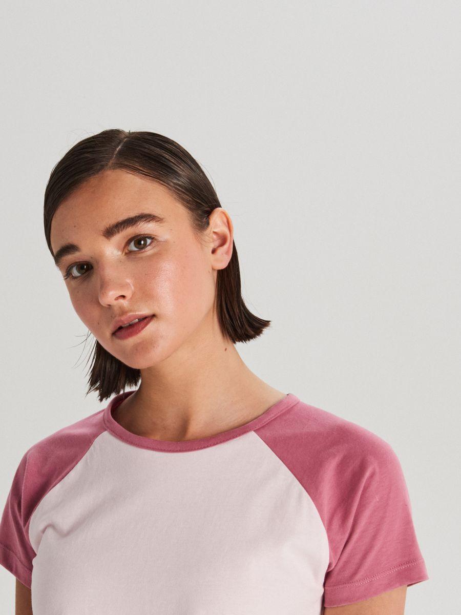 Tričko s raglánovými rukávmi - Ružová - WH175-03X - Cropp - 2