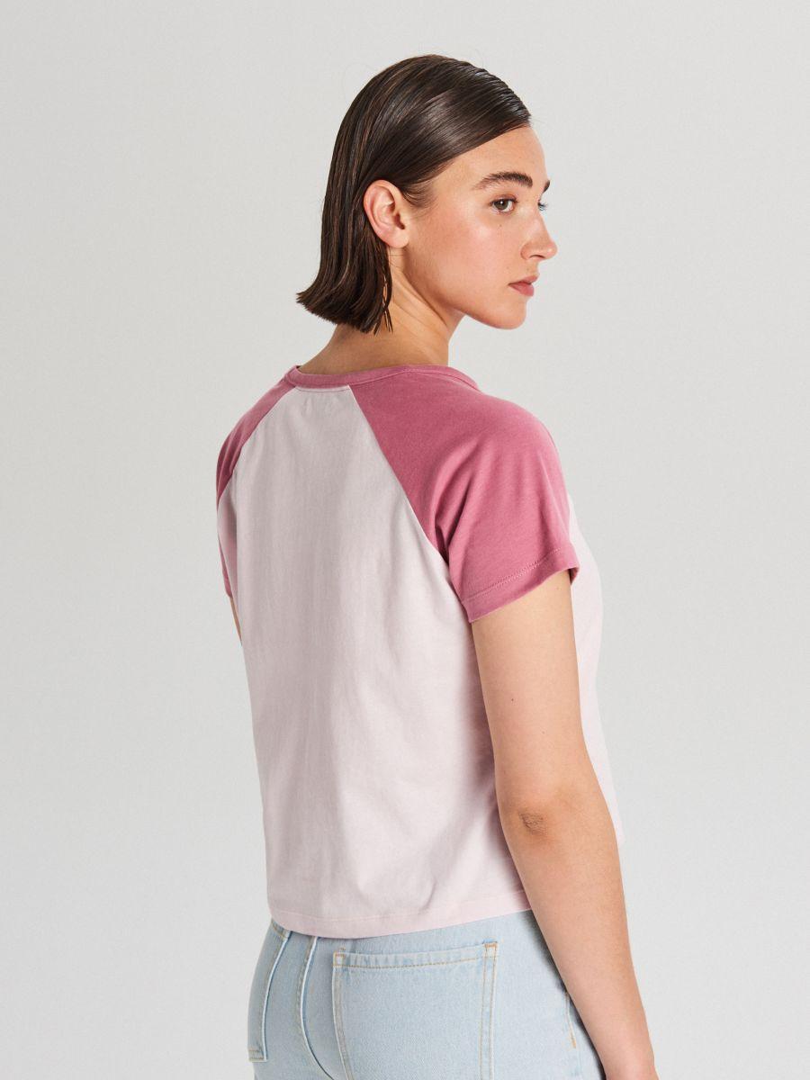 Tričko s raglánovými rukávmi - Ružová - WH175-03X - Cropp - 3