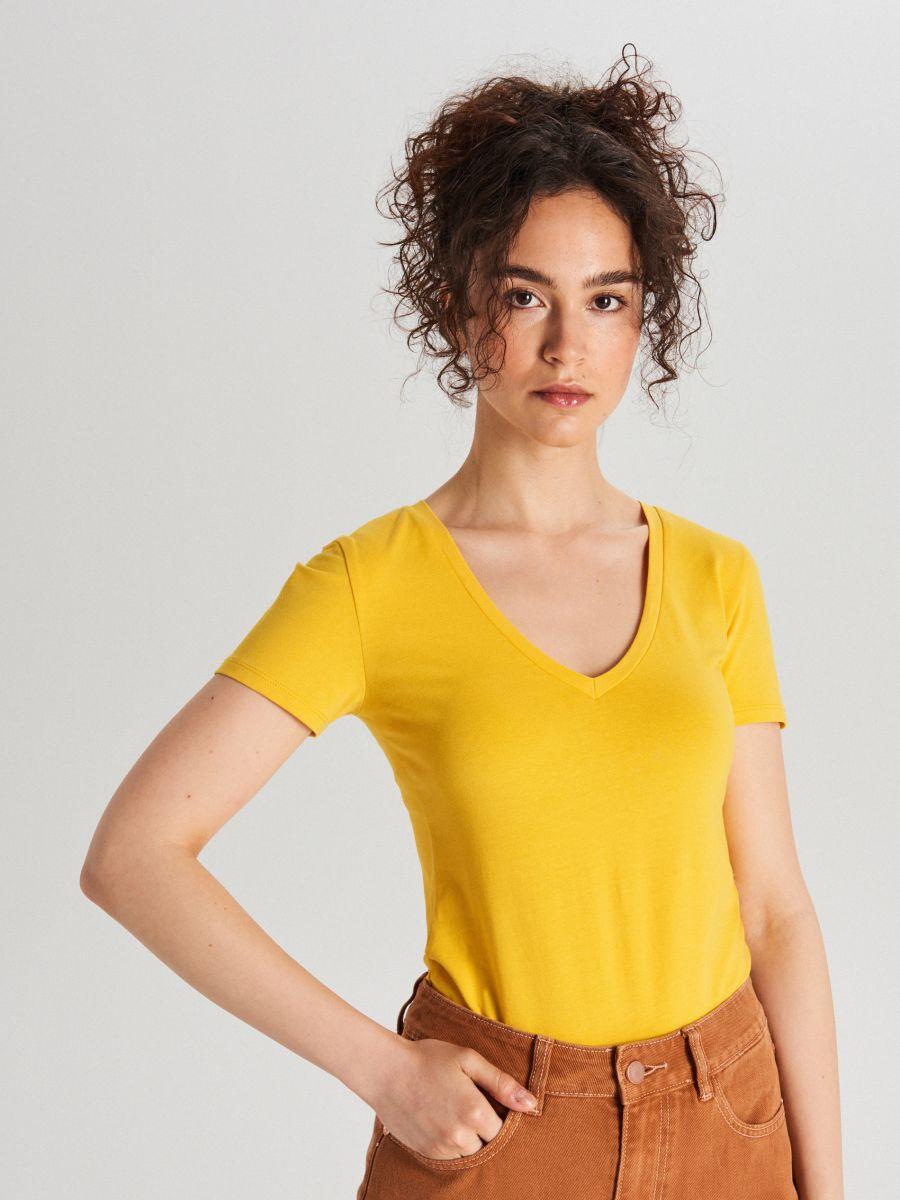 LADIES` T-SHIRT - Žltá - WH176-11X - Cropp - 1