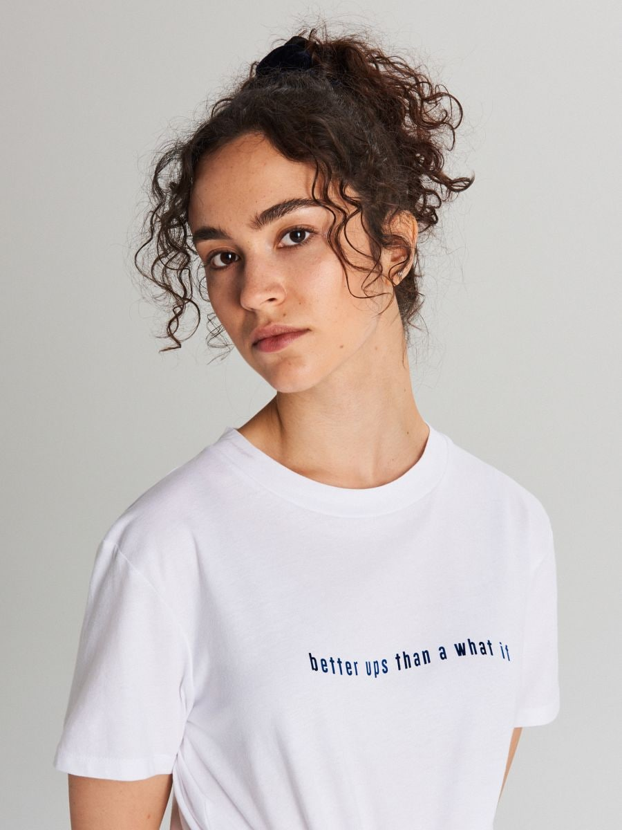 Tričko s potlačou - Biela - WH179-00X - Cropp - 2