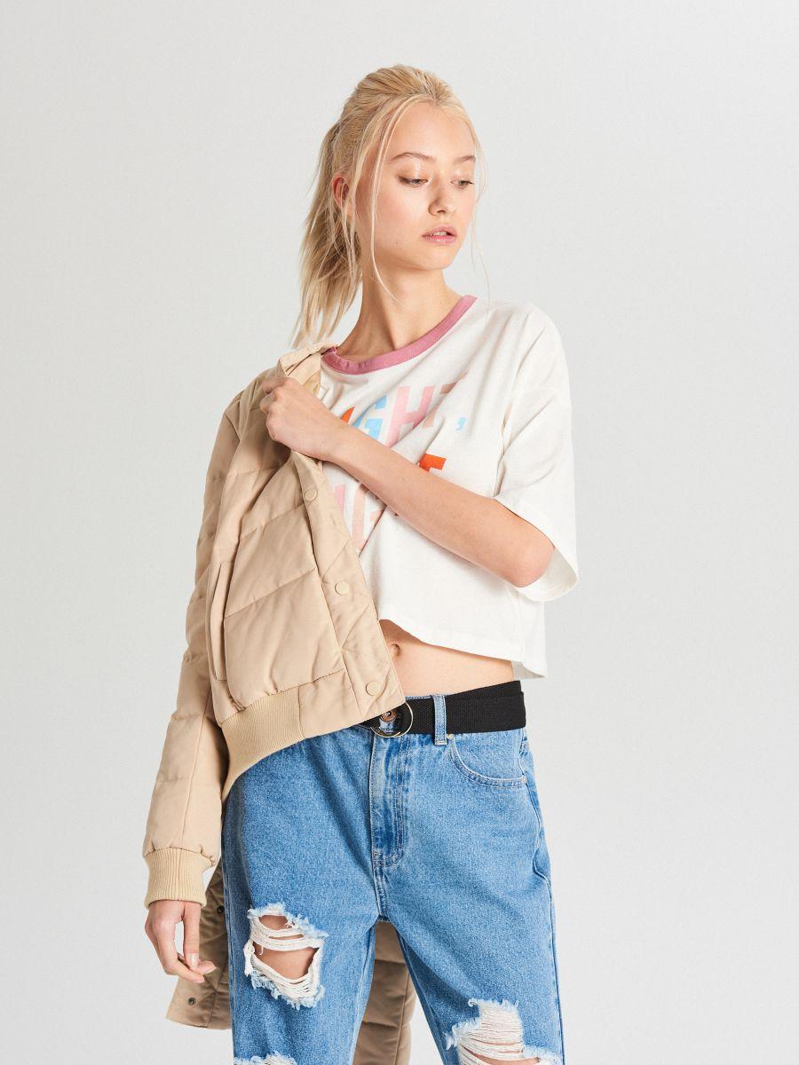 Oversize tričko s potlačou - Krémová - WH180-02X - Cropp - 2