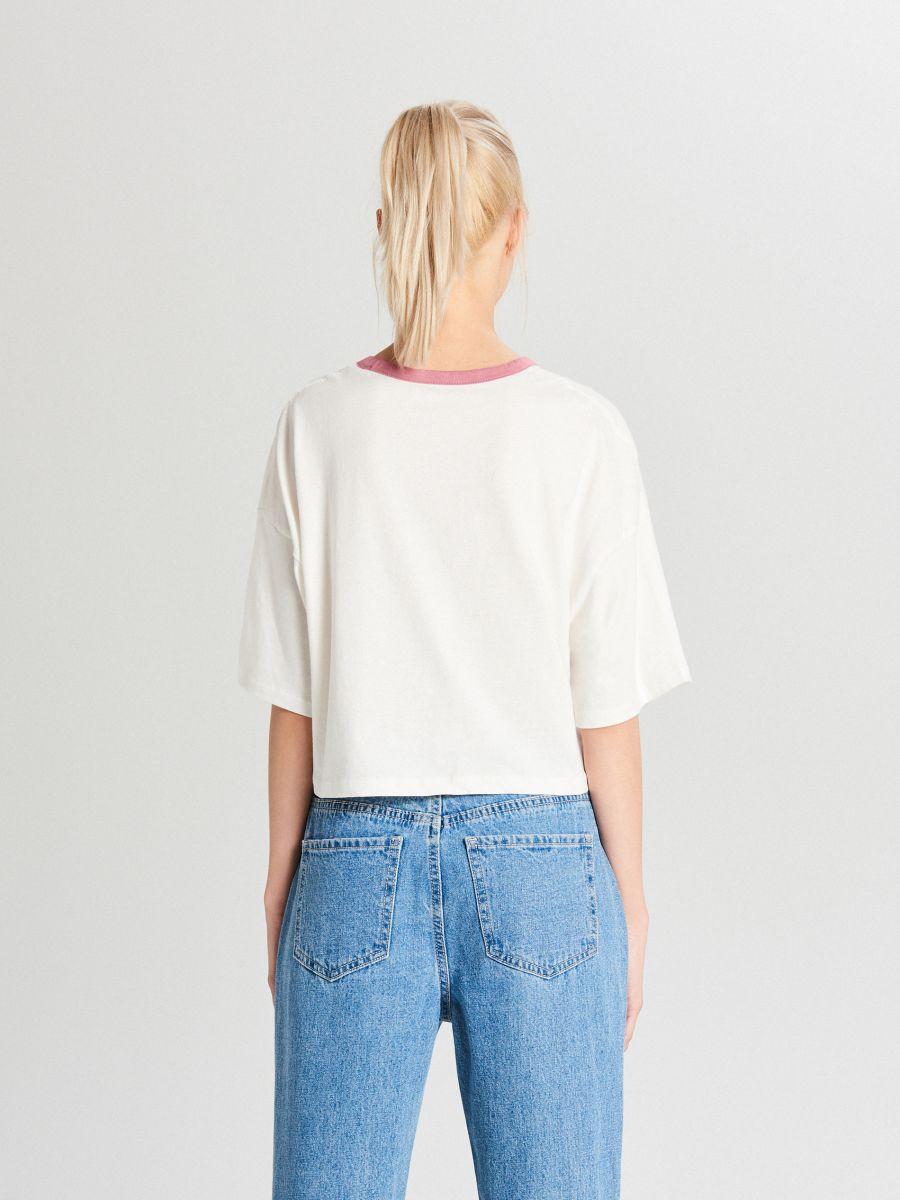 Oversize tričko s potlačou - Krémová - WH180-02X - Cropp - 4
