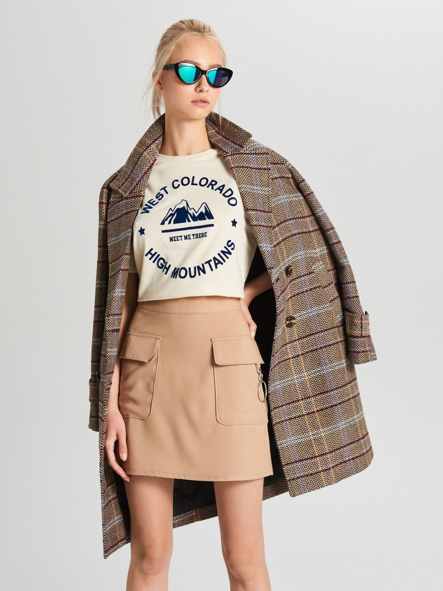 Oversize tričko s potlačou - Krémová - WH704-02X - Cropp - 2