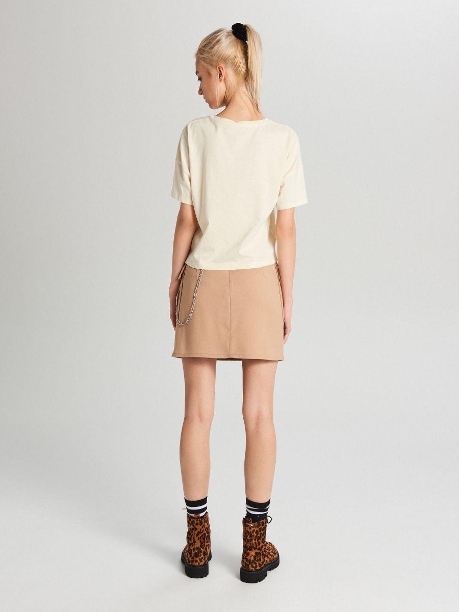 Oversize tričko s potlačou - Krémová - WH704-02X - Cropp - 3