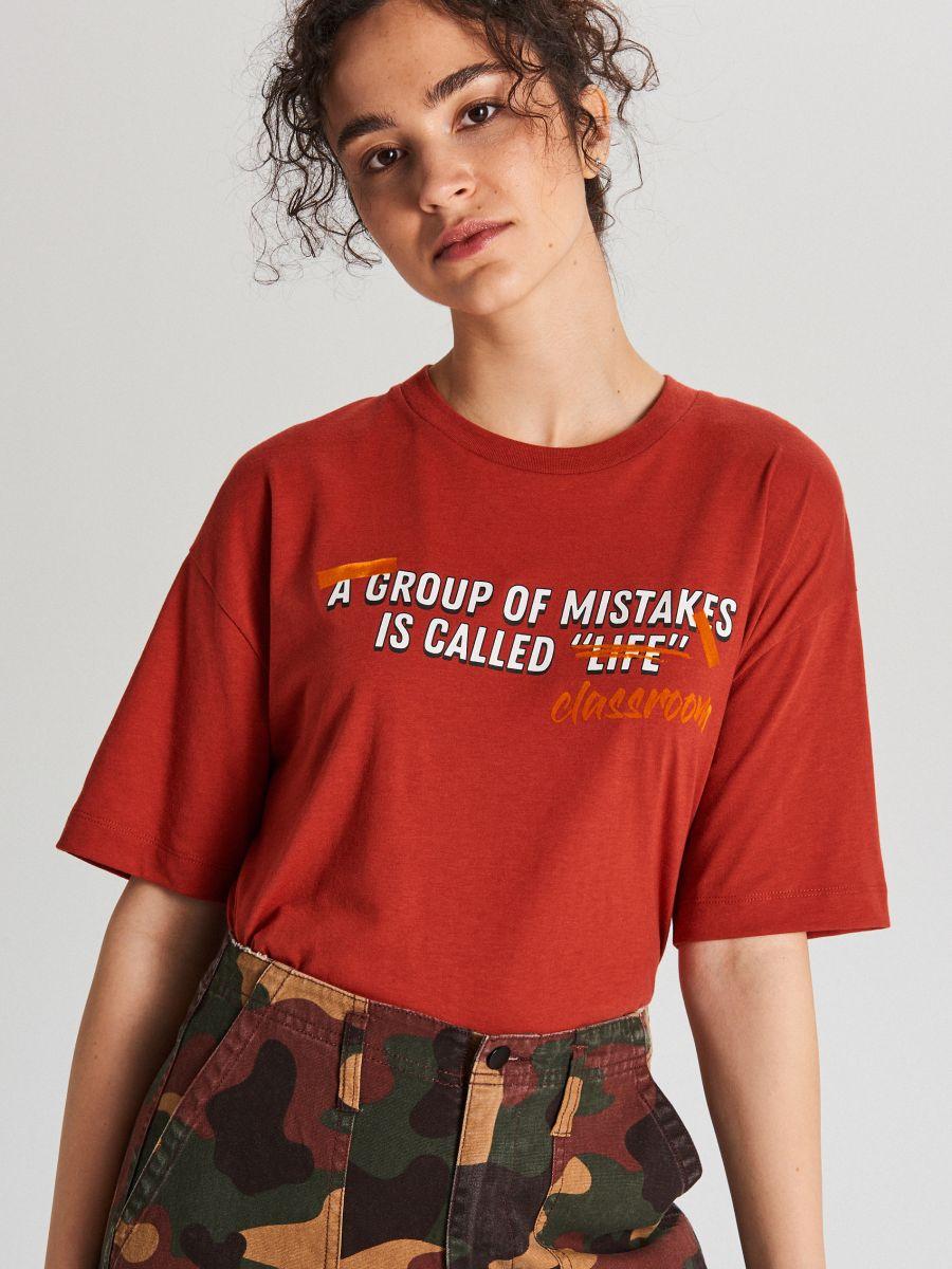 Tričko s nápisom - Bordový - WH706-83X - Cropp - 1
