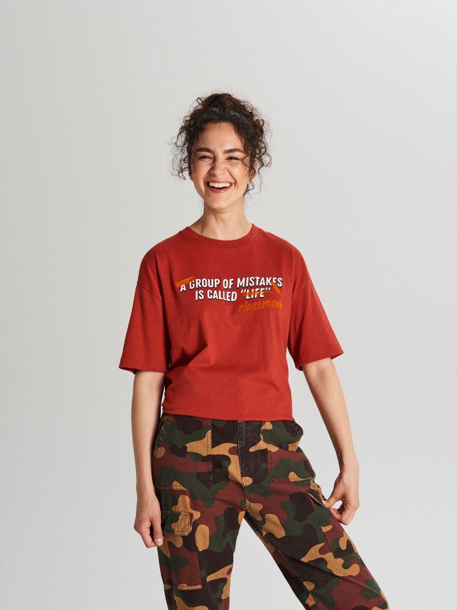 Tričko s nápisom - Bordový - WH706-83X - Cropp - 2