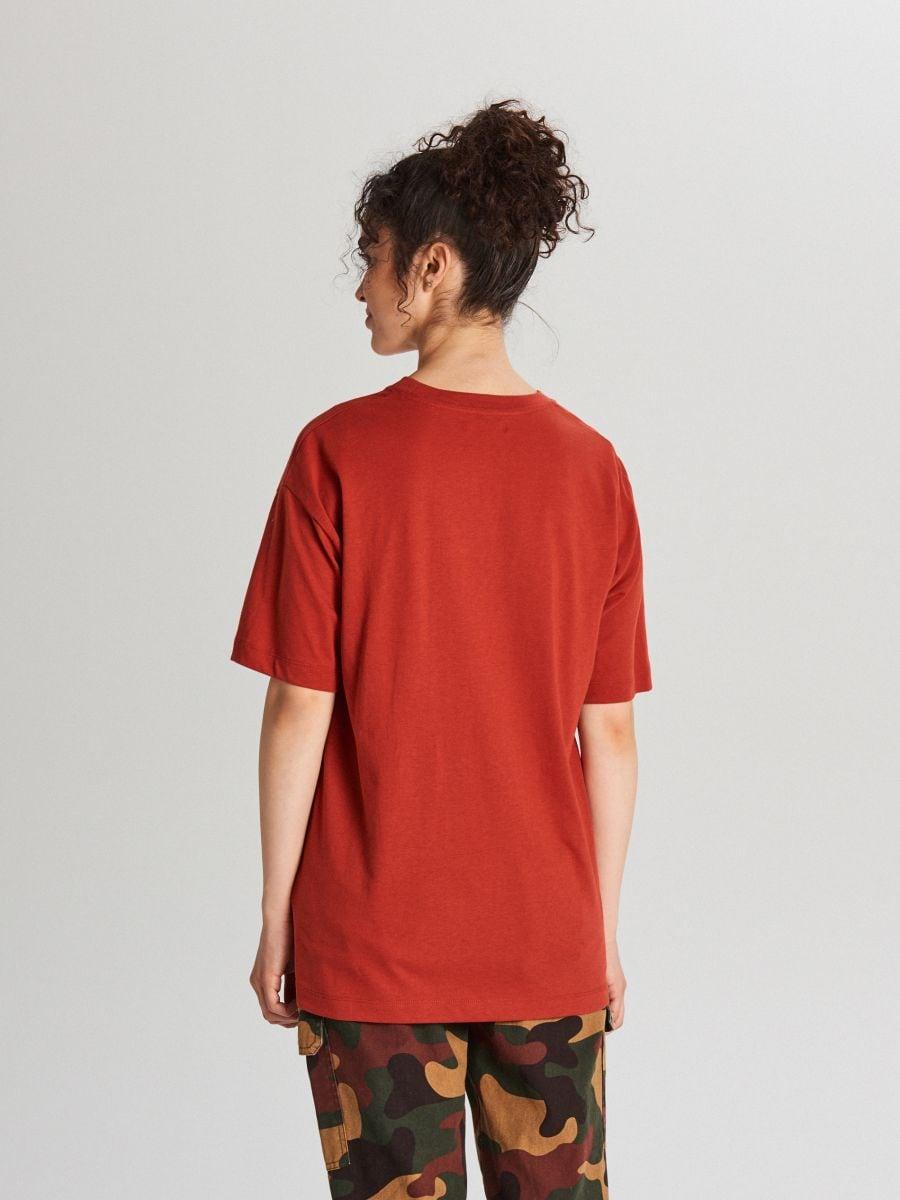 Tričko s nápisom - Bordový - WH706-83X - Cropp - 3