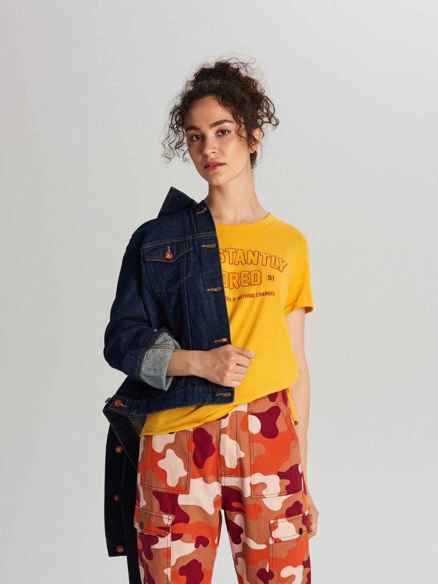 Tričko s potlačou - Žltá - WH707-18X - Cropp - 1