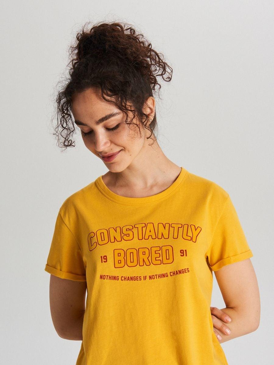 Tričko s potlačou - Žltá - WH707-18X - Cropp - 2