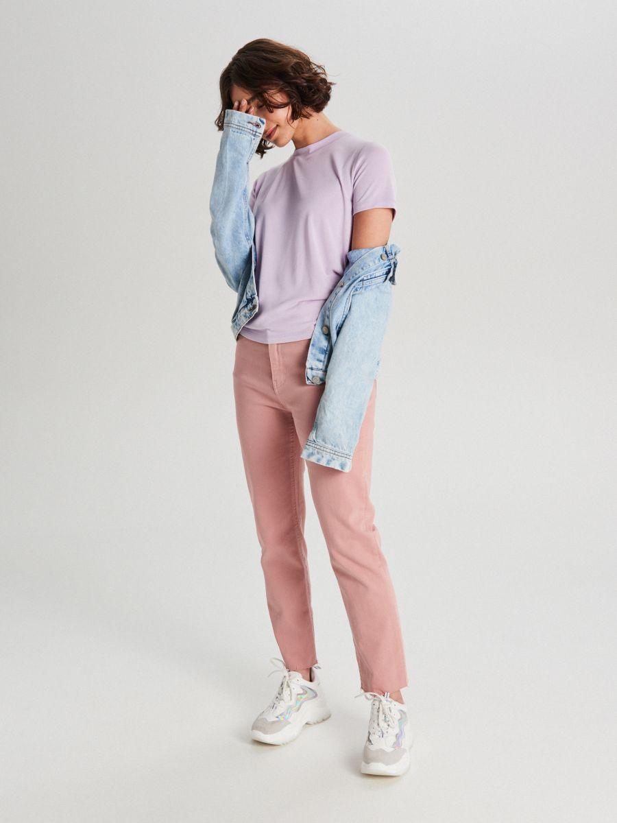 Hladké basic tričko - Purpurová - WK752-04X - Cropp - 2