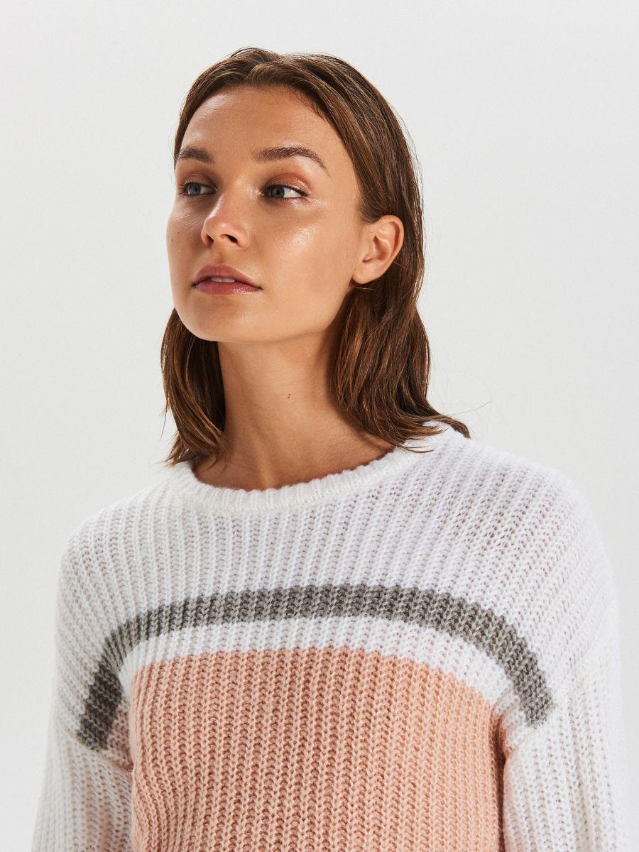 Viacfarebný sveter - Krémová - WM681-01X - Cropp - 3