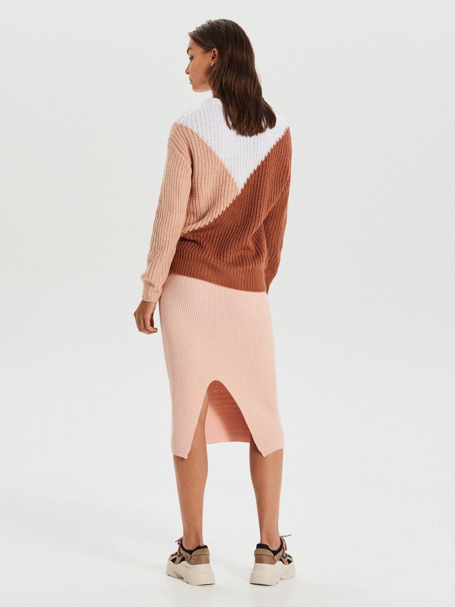 Viacfarebný sveter - Oranžová - WM681-28X - Cropp - 4