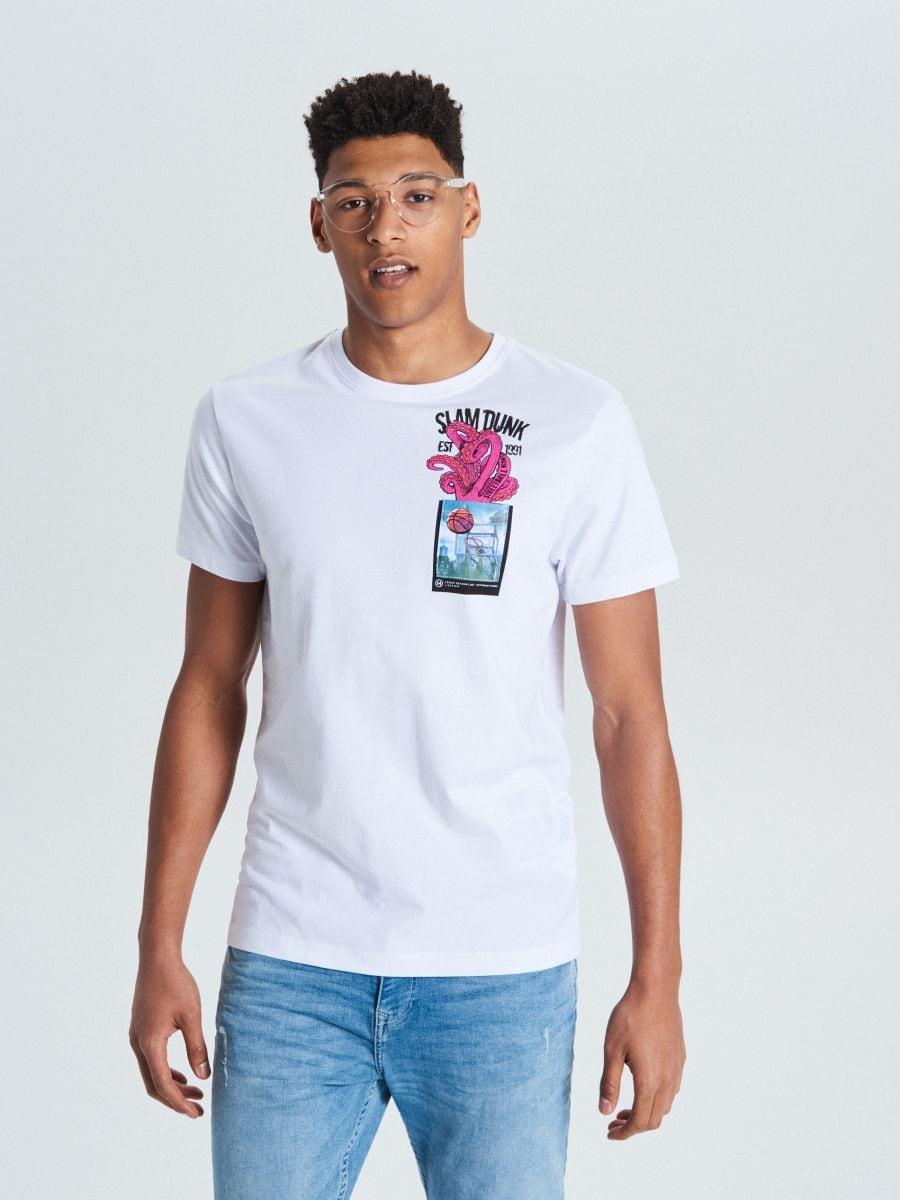 Tričko s vreckom - Biela - WP802-00X - Cropp - 2