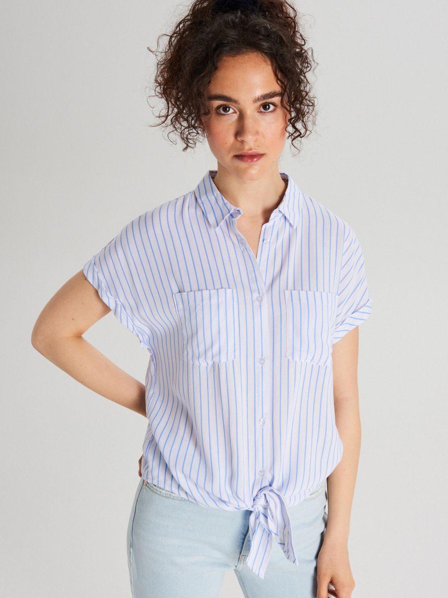 Košeľa s viazaním - Modrá - WQ054-05X - Cropp - 1