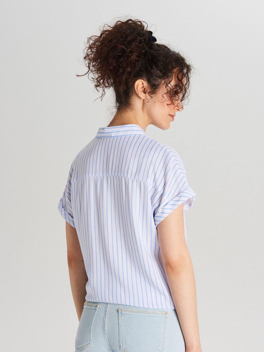 Košeľa s viazaním - Modrá - WQ054-05X - Cropp - 3