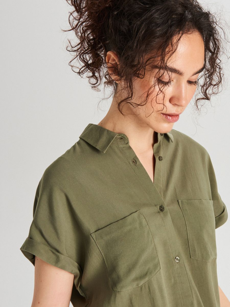 Košeľa s viazaním - Khaki - WQ054-78X - Cropp - 1
