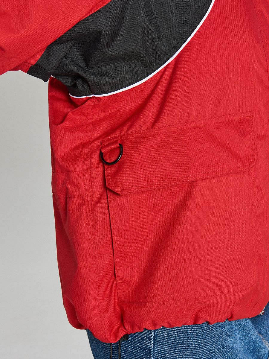 Bunda oversize s kapucňou - Červená - WS144-33X - Cropp - 6