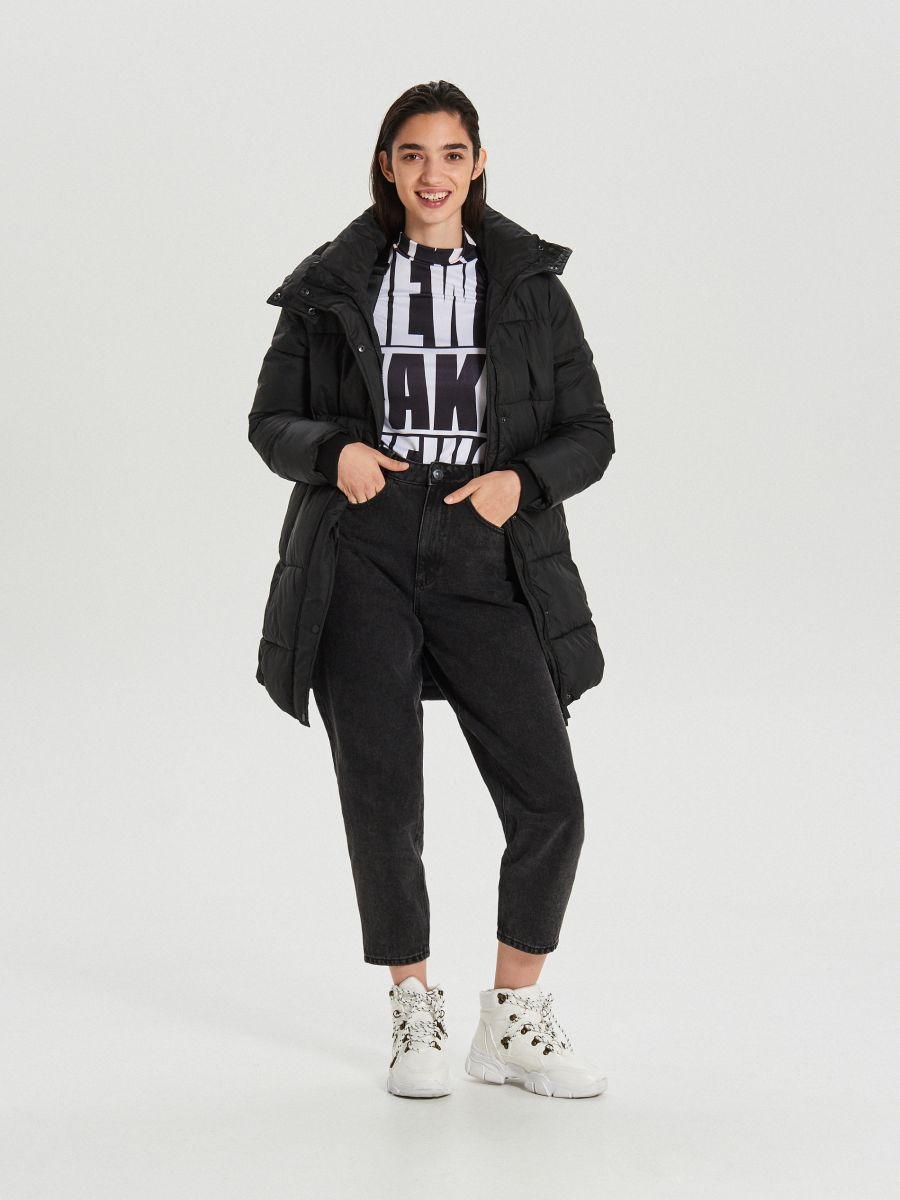 Prešívaný plášť s kapucňou - Čierna - WS172-99X - Cropp - 3