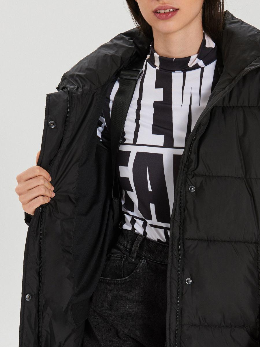 Prešívaný plášť s kapucňou - Čierna - WS172-99X - Cropp - 7