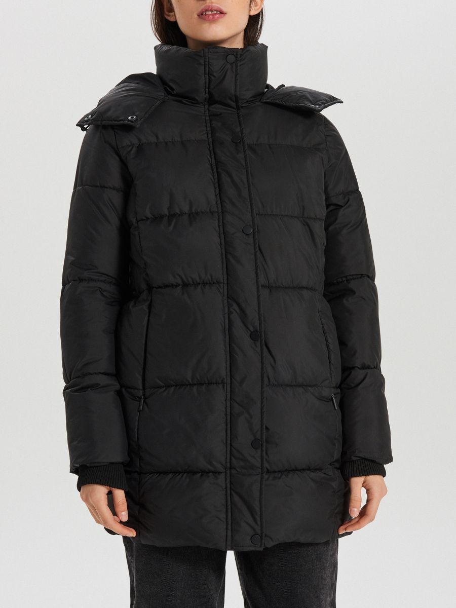 Prešívaný plášť s kapucňou - Čierna - WS172-99X - Cropp - 6