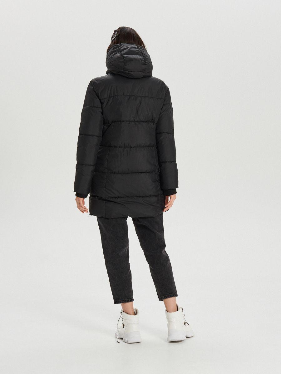 Prešívaný plášť s kapucňou - Čierna - WS172-99X - Cropp - 2