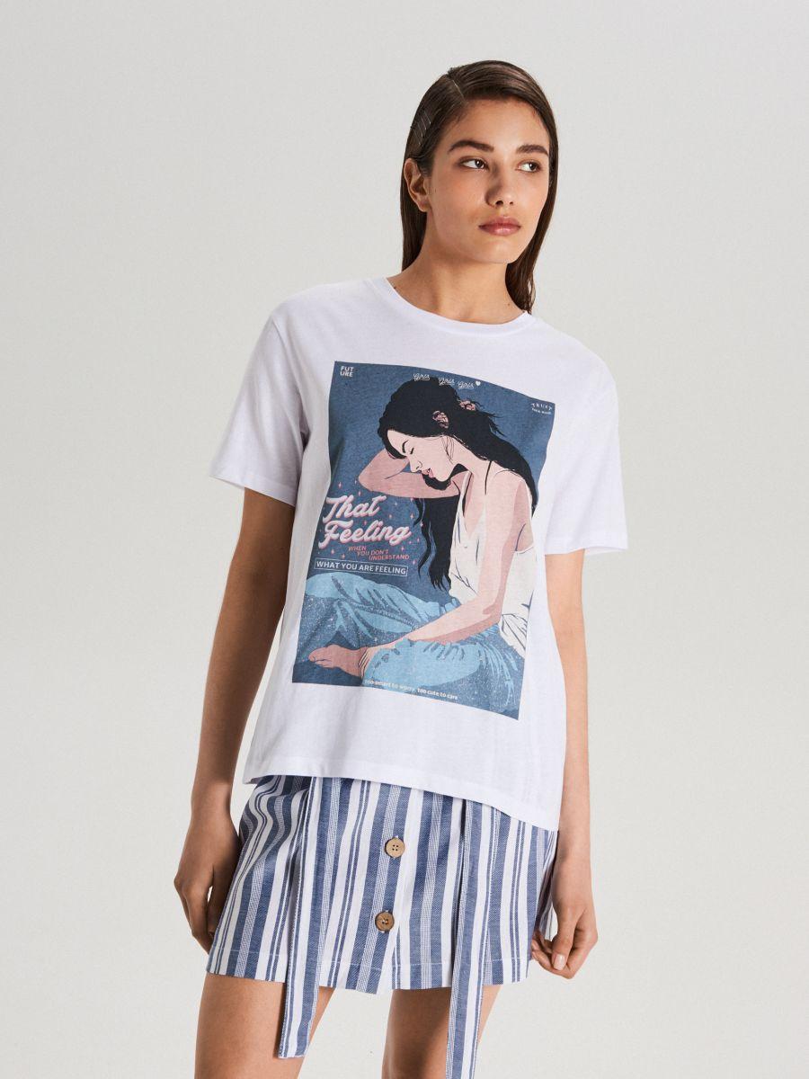 Tričko s potlačou - Biela - WV243-00X - Cropp - 1