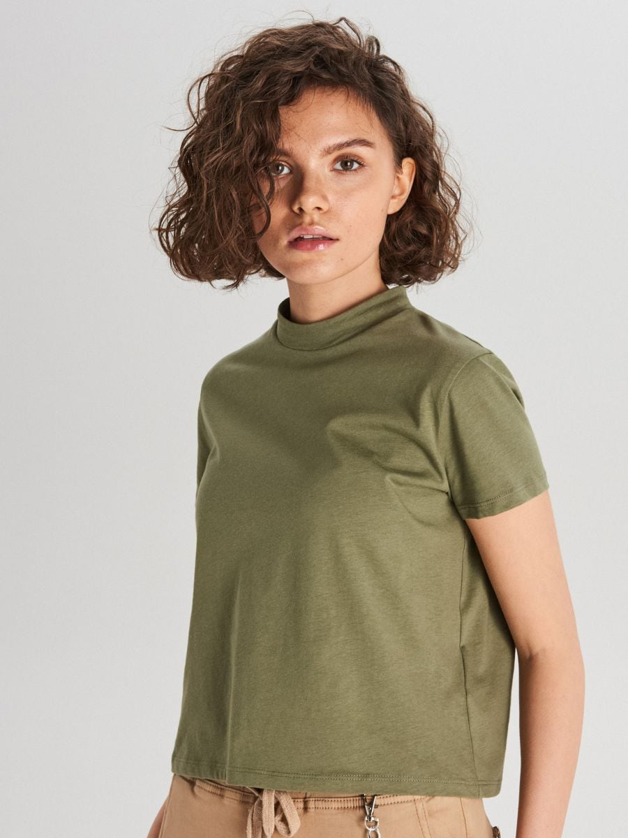 Hladké tričko - Khaki - WV244-78X - Cropp - 1
