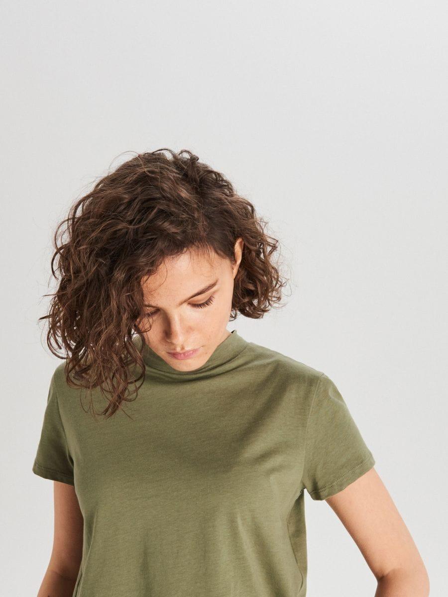 Hladké tričko - Khaki - WV244-78X - Cropp - 2