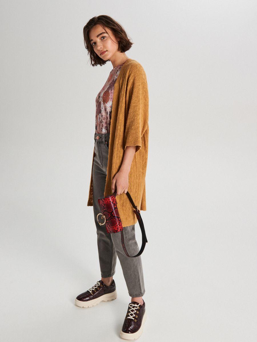 Tričko z prúžkovaného úpletu s kvetinovou potlačou - Krémová - WV263-02X - Cropp - 2