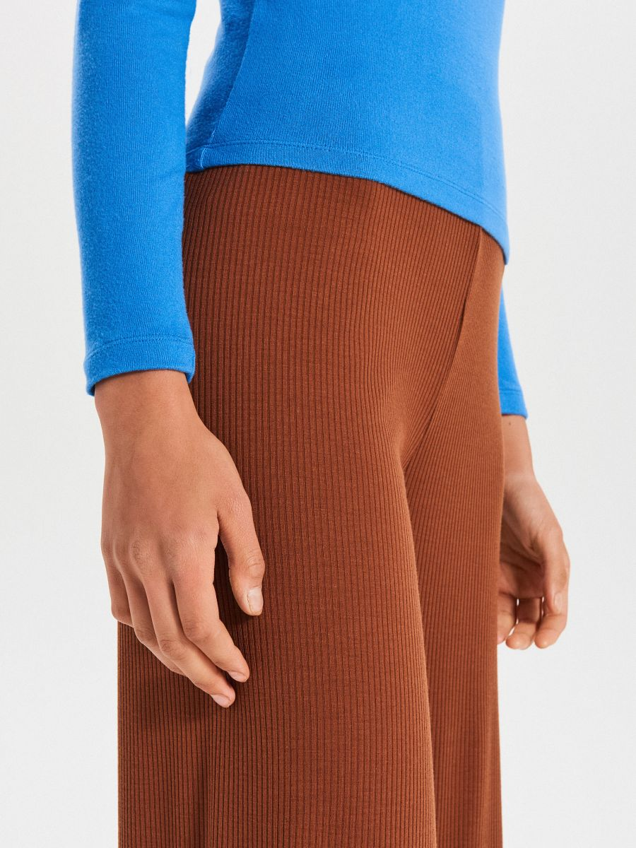 Nohavice typu palazzo  - Béžová - WY140-08X - Cropp - 3