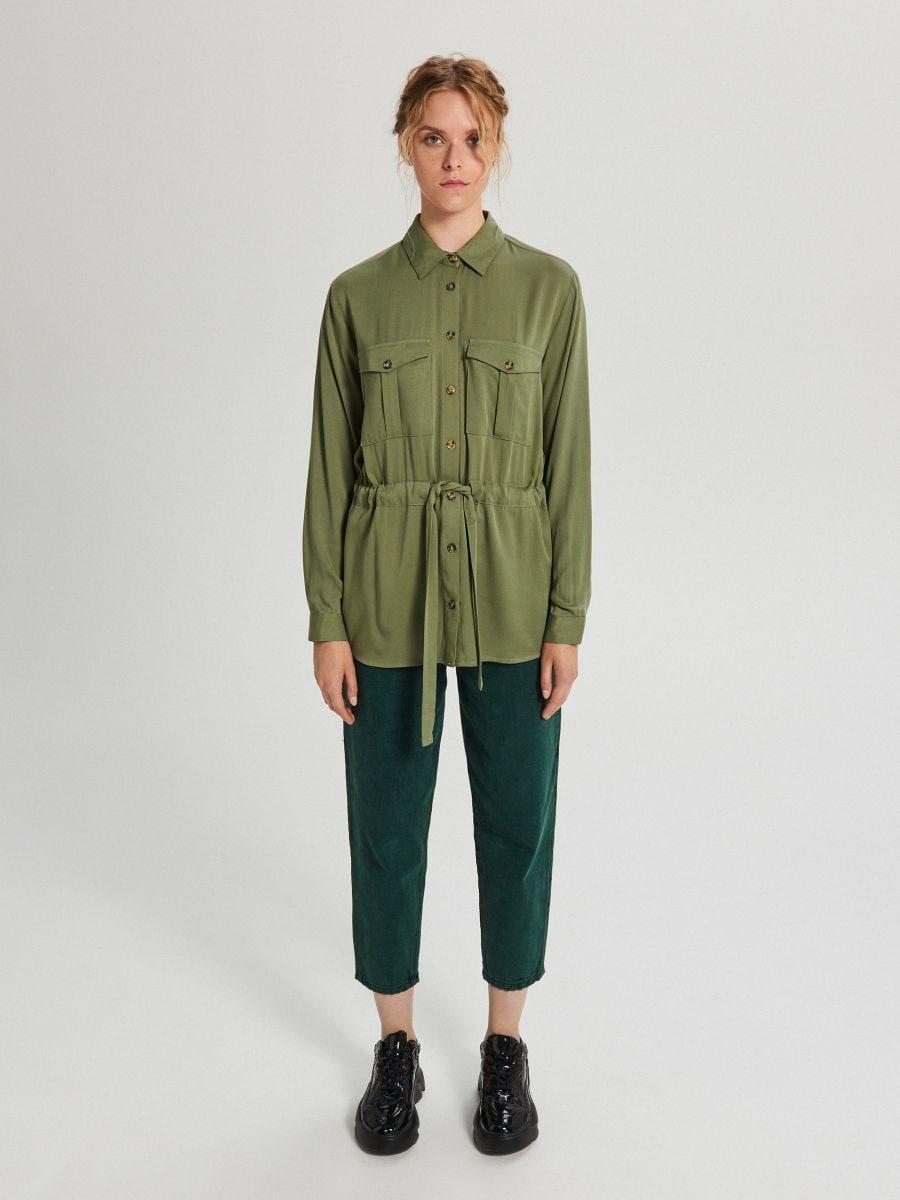 Košeľa so sťahovacím lemom - Khaki - WY846-87X - Cropp - 2