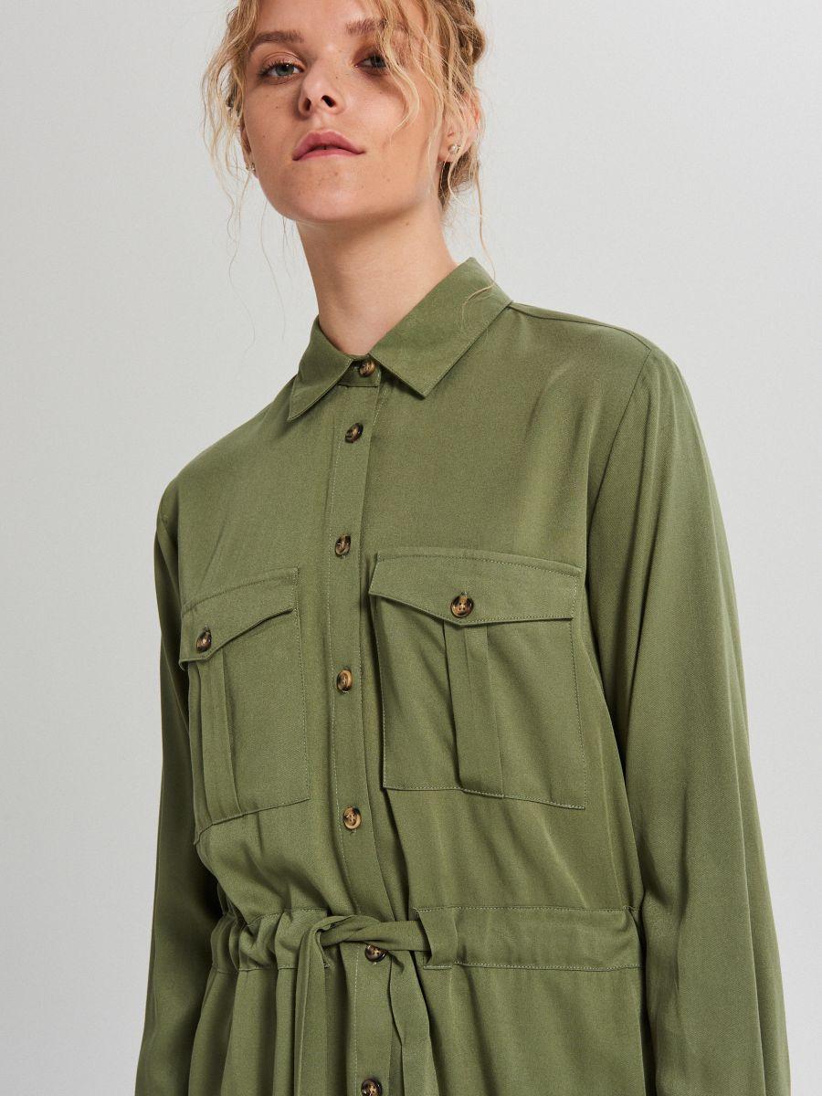 Košeľa so sťahovacím lemom - Khaki - WY846-87X - Cropp - 3