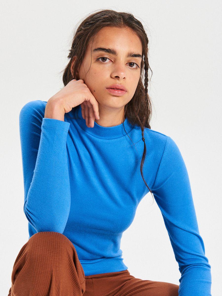Hladký sveter so stojačikom - Modrá - WZ147-55X - Cropp - 1
