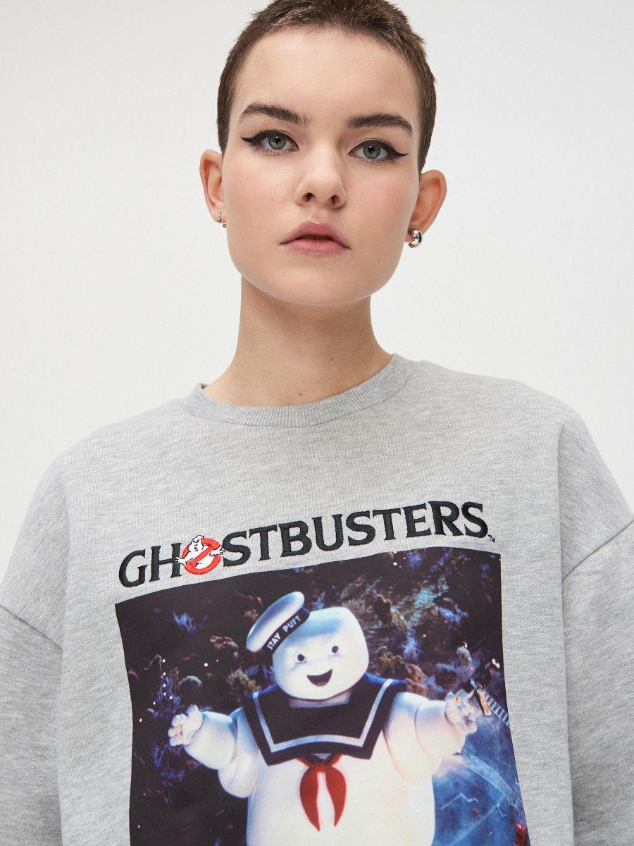 Mikina s kapucňou Ghostbusters - Svetlošedá - XB556-09M - Cropp - 1