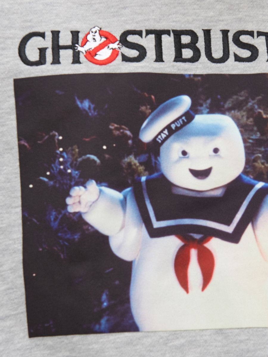 Mikina s kapucňou Ghostbusters - Svetlošedá - XB556-09M - Cropp - 4