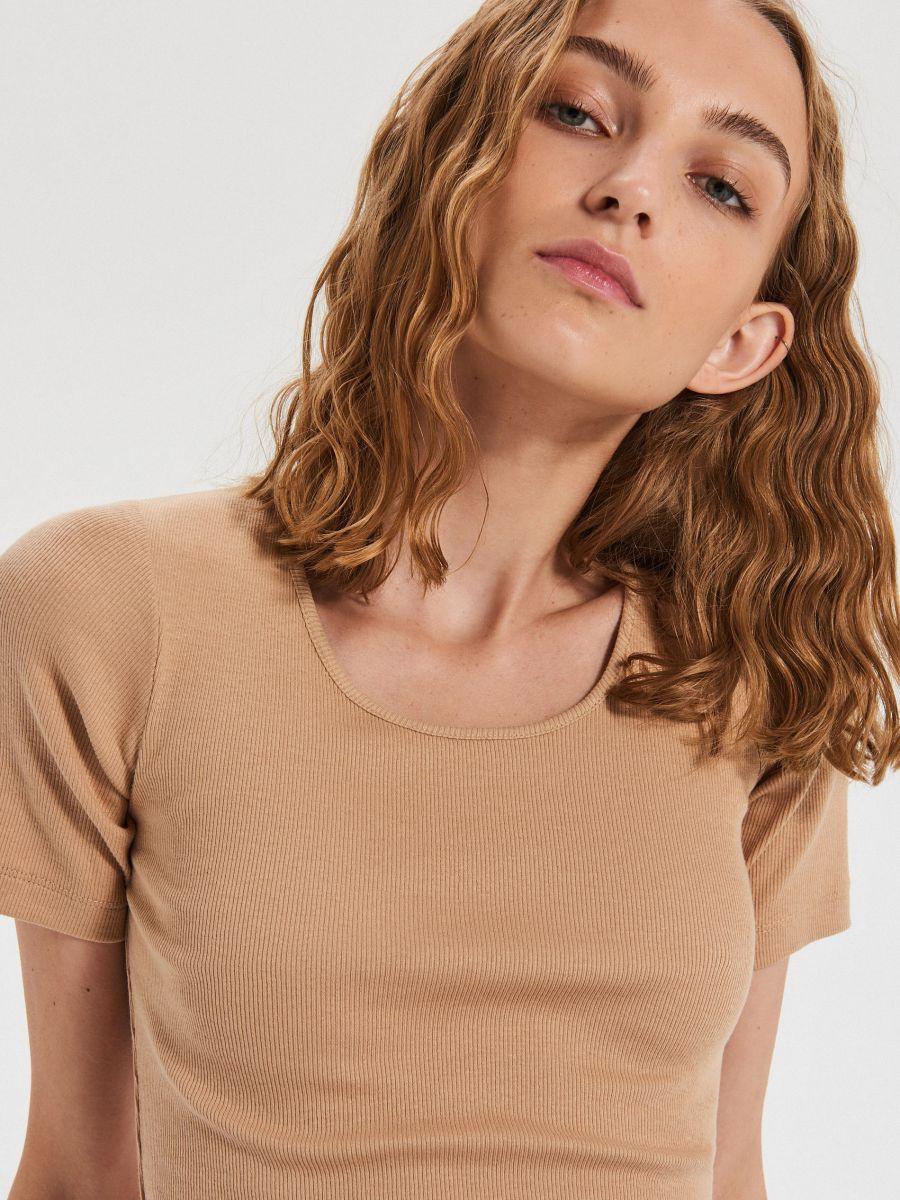 Hladké tričko - Béžová - XD982-08X - Cropp - 2