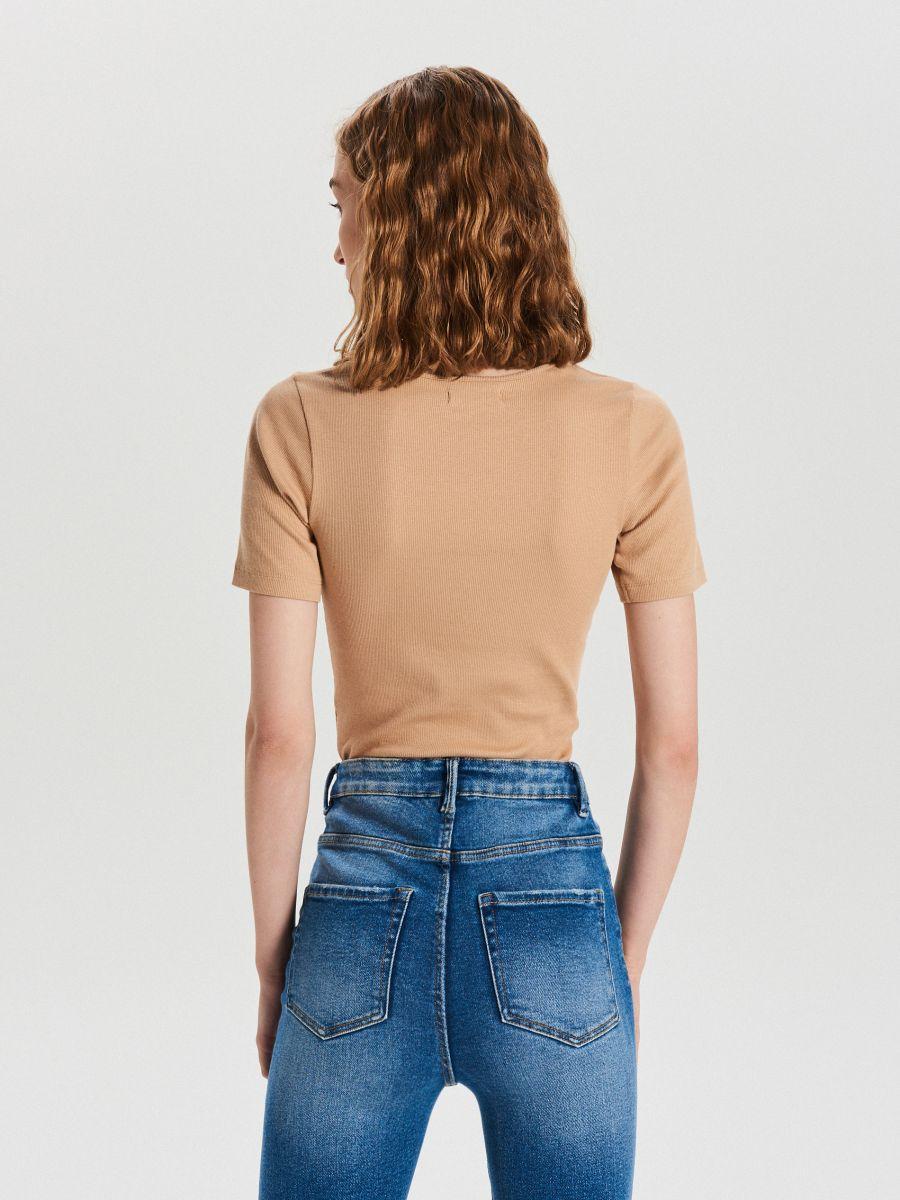 Hladké tričko - Béžová - XD982-08X - Cropp - 3